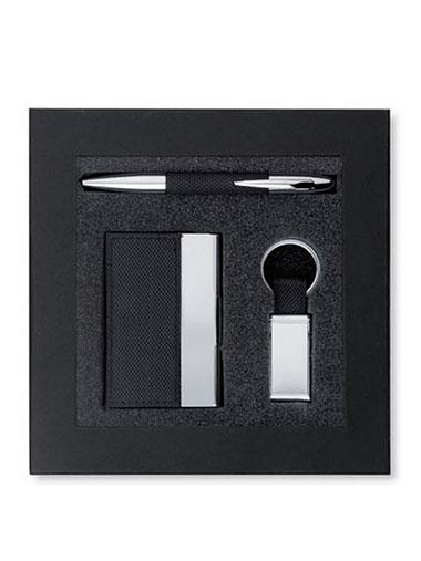 Coffret cadeau : stylo, porte-clés et porte-cartes