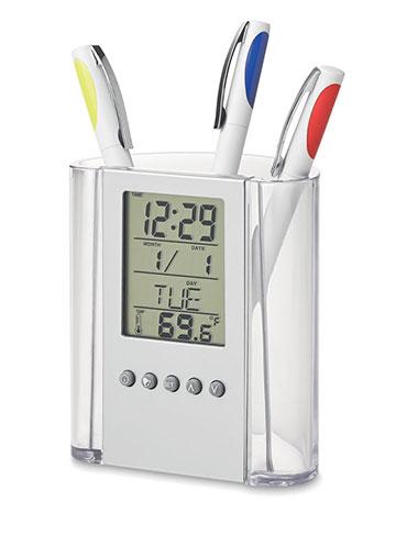 Porte-stylo avec horloge